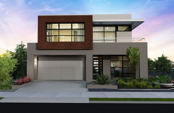 Fachada de casa moderna bonita pequeña dos niveles