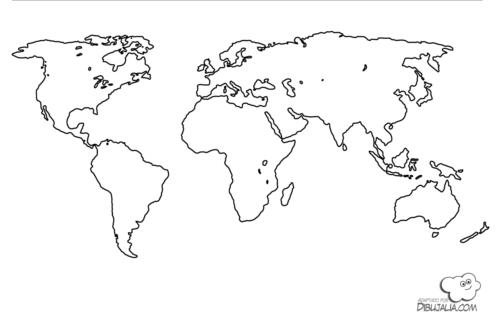 Mapamundi para nios fsico poltico para colorear e imprimir