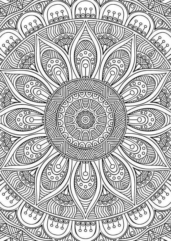 Mandalas en im genes originales para colorear e imprimir for Super hard abstract coloring pages for adults