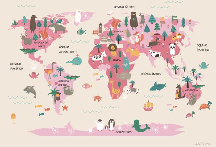 Mapamundi Para Niños Físico Político Para Colorear E